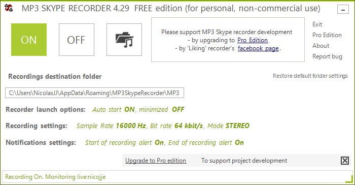 Capture d'écran MP3 Skype Recorder