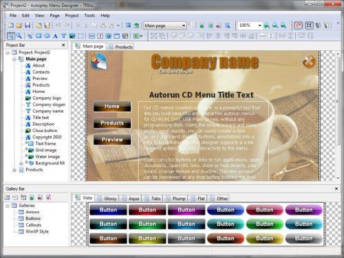 Capture d'écran Autoplay Menu Designer