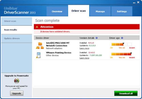 Capture d'écran DriverScanner 2015
