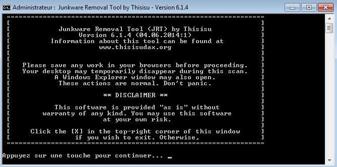 Capture d'écran Junkware Removal Tool