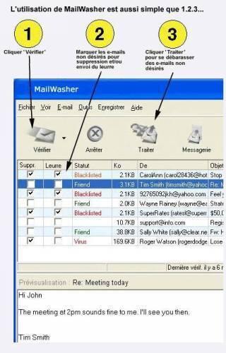 Capture d'écran MailWasher Pro (Français)