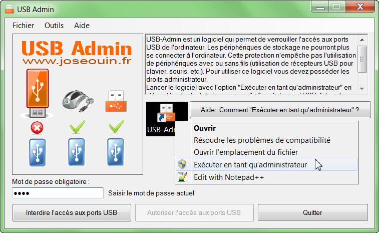 Capture d'écran USB-Administrator