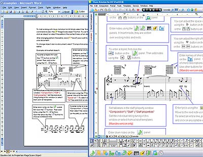 Capture d'écran Music Making in MS Word