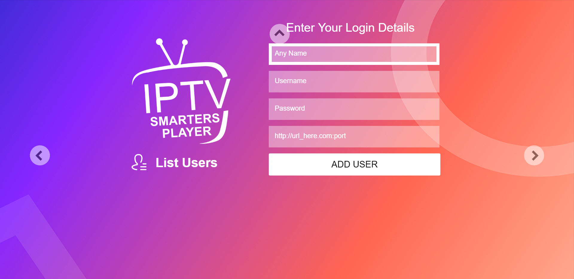 Capture d'écran IPTV Smarters Player