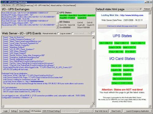 Capture d'écran UPS Monitoring Software