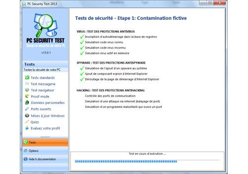 Capture d'écran PC Security Test 2013