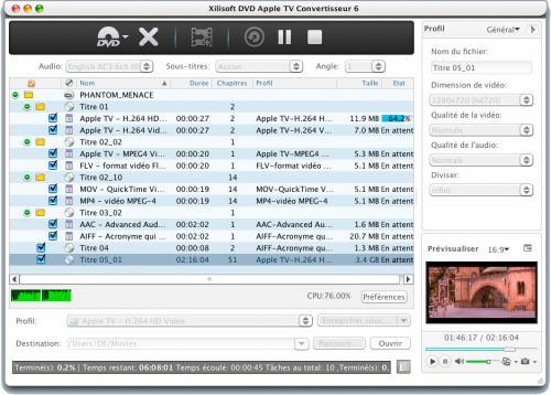 Capture d'écran Xilisoft DVD Apple TV Convertisseur Mac