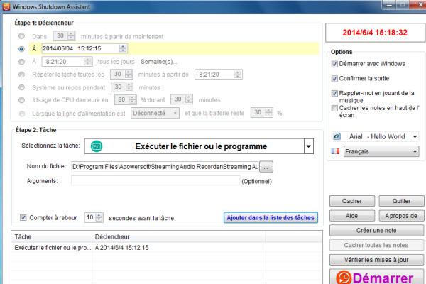 Capture d'écran Windows Shutdown Assistant