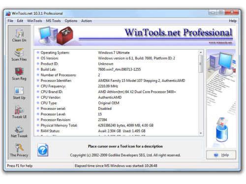Capture d'écran WinTools.net Professional