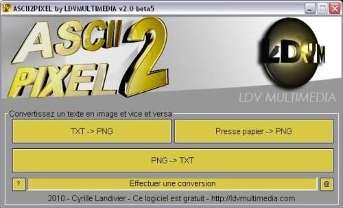 Capture d'écran ASCII2PIXEL