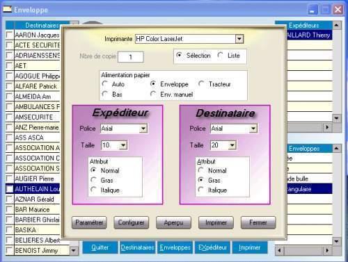 Capture d'écran Enveloppes