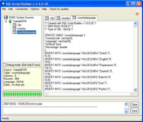 Capture d'écran SQL Script Builder