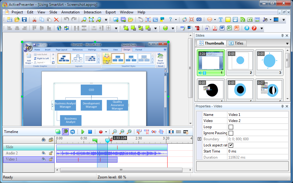 Capture d'écran ActivePresenter
