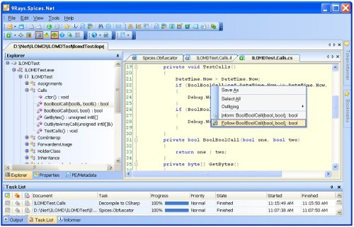 Capture d'écran Spices.Net Decompiler