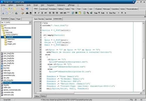 Capture d'écran Script Edit