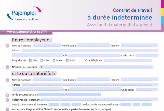 Capture d'écran Contrat de travail assistant(e) maternel(le) agréé(e)