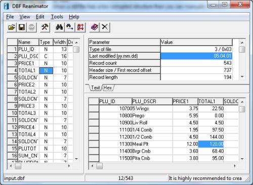 Capture d'écran DBF Reanimator