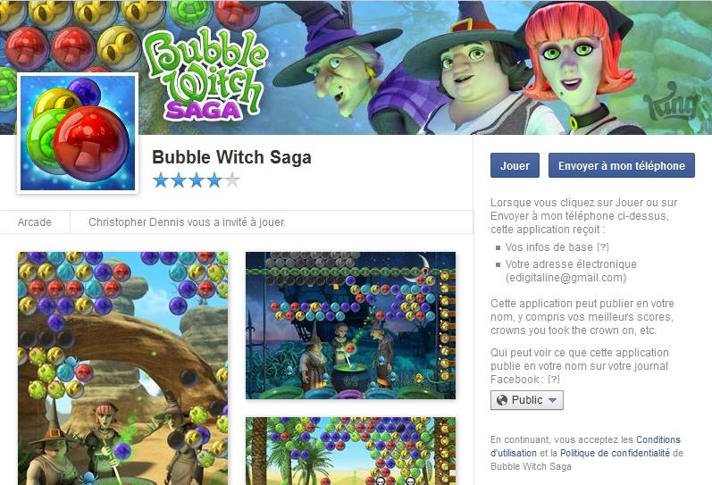 Capture d'écran Bubble Witch Saga Facebook
