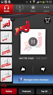 Capture d'écran NRJ Belgique Smartphone
