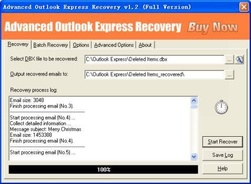 Capture d'écran Advanced Outlook Express Recovery