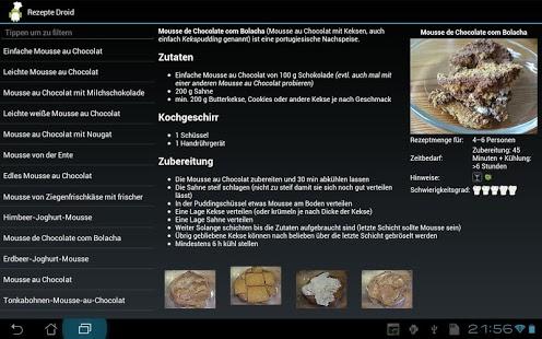 Capture d'écran Koch Droid Rezepte
