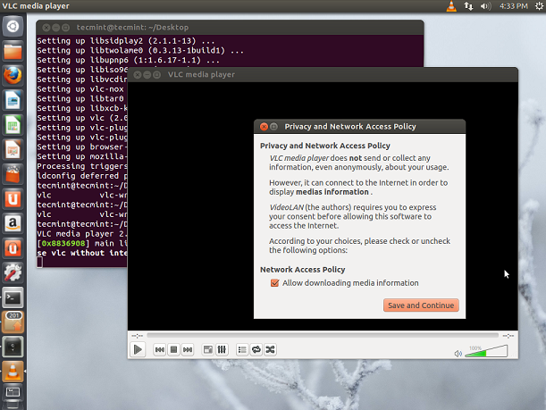 Capture d'écran VLC media player Linux