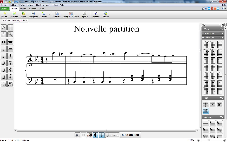 Capture d'écran Crescendo – Logiciel de notation musicale
