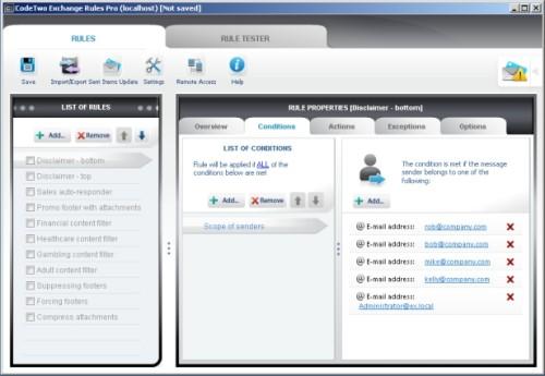 Capture d'écran CodeTwo Exchange Rules Pro