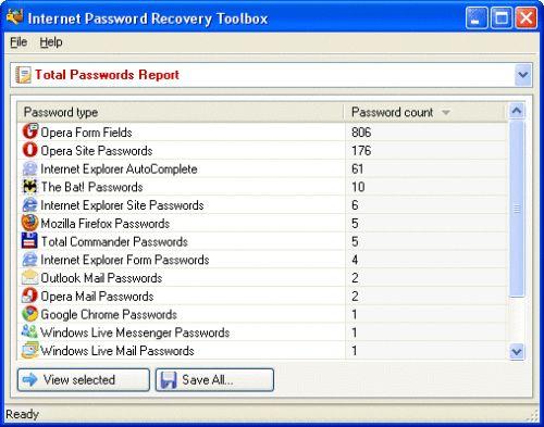 Capture d'écran Internet Password Recovery Toolbox