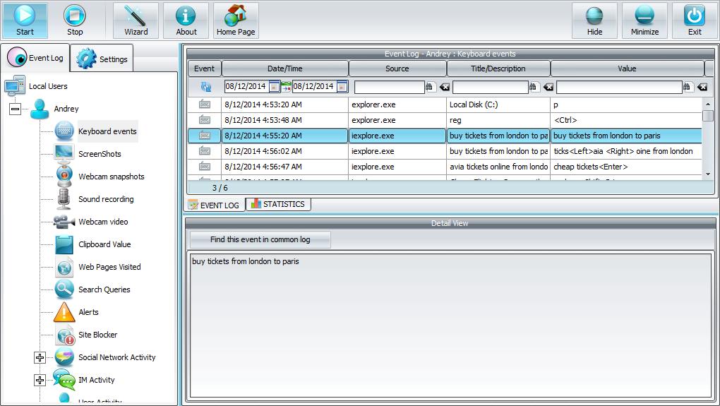 Capture d'écran Spyrix Keylogger Free