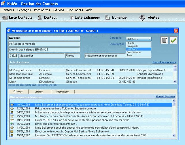 Capture d'écran Kafeo CRM – 2017