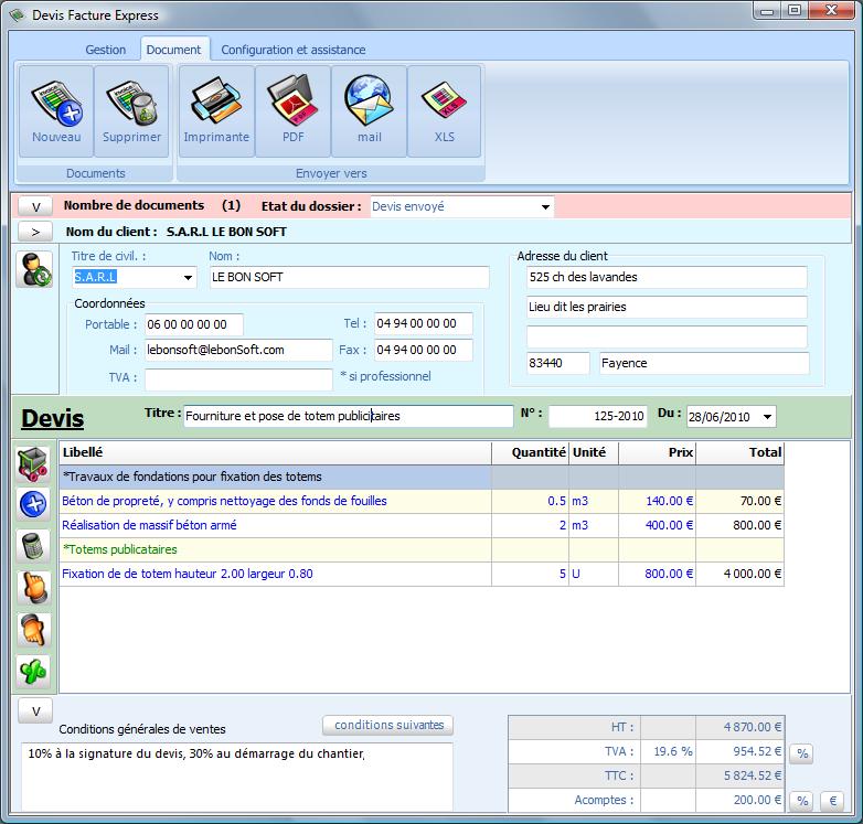Capture d'écran Devis Facture Express 3.4/2019