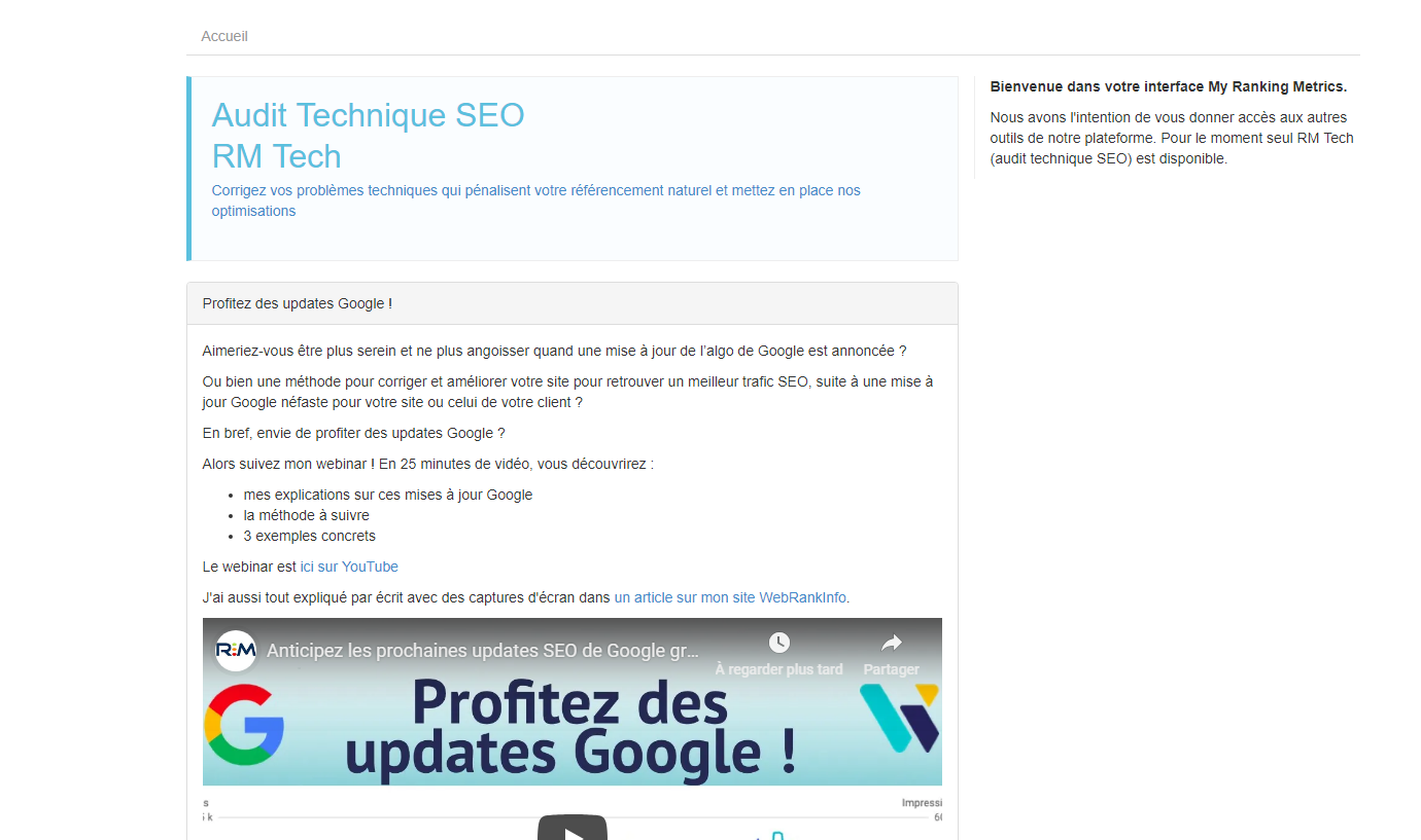 Capture d'écran RM Tech: My Ranking Metrics SEO