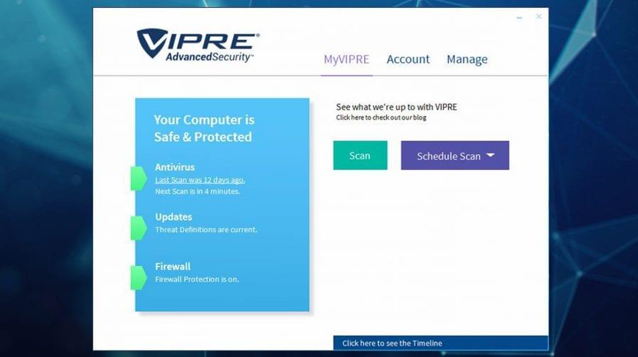 Capture d'écran Vipre Advanced Security