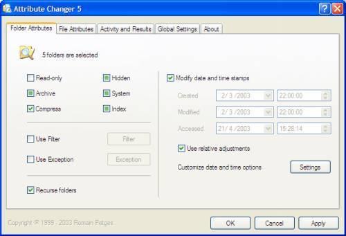 Capture d'écran Attribute Changer