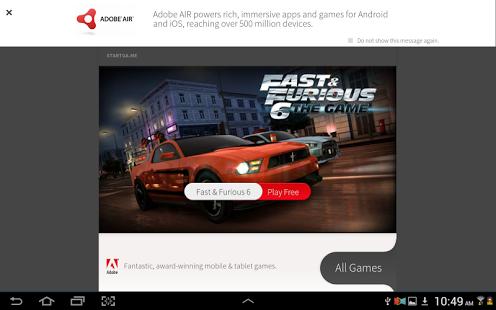 Capture d'écran Adobe AIR