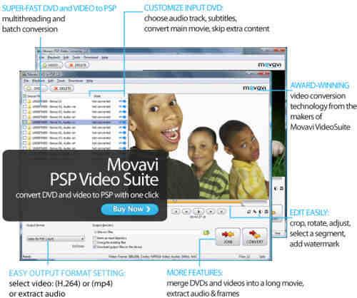 Capture d'écran Movavi PSP Video Suite