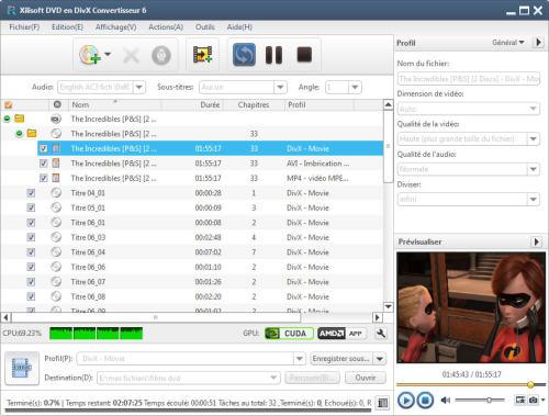 Capture d'écran Xilisoft DVD en DivX Convertisseur
