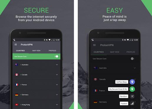 Capture d'écran ProtonVPN Android