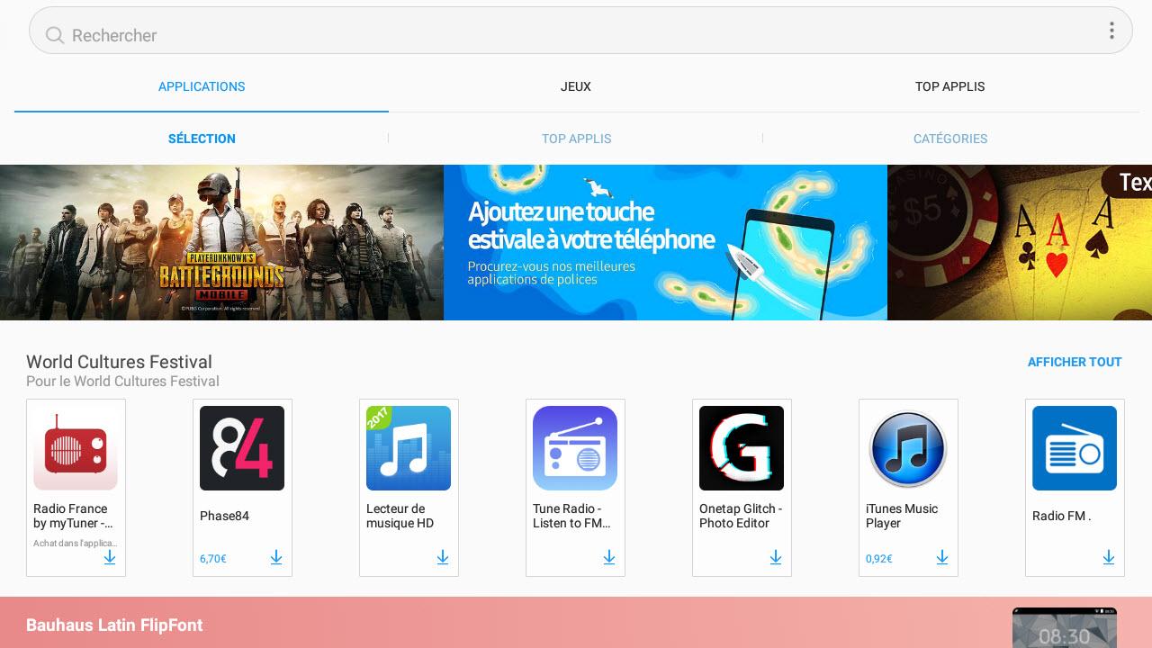 Capture d'écran Samsung Galaxy Apps Android