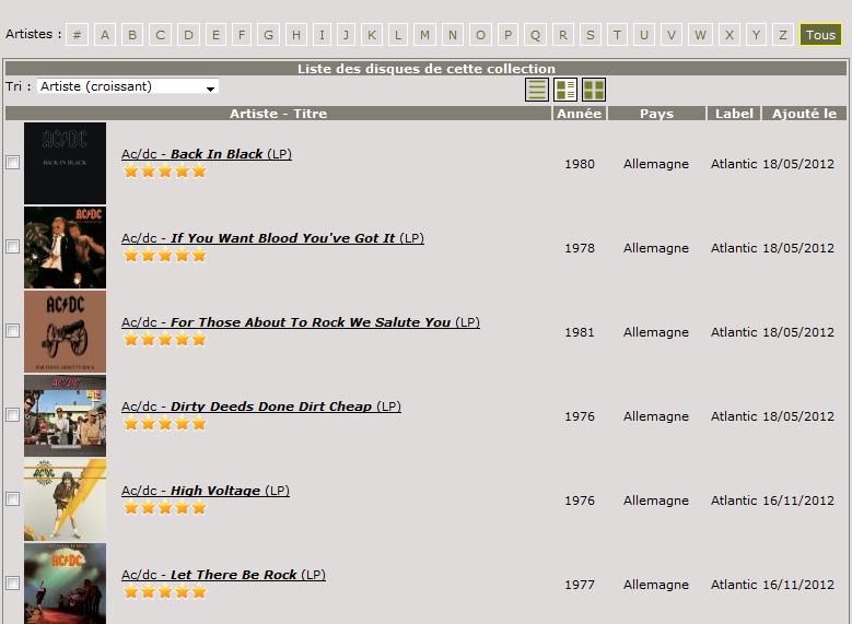 Capture d'écran Vinyls-collection