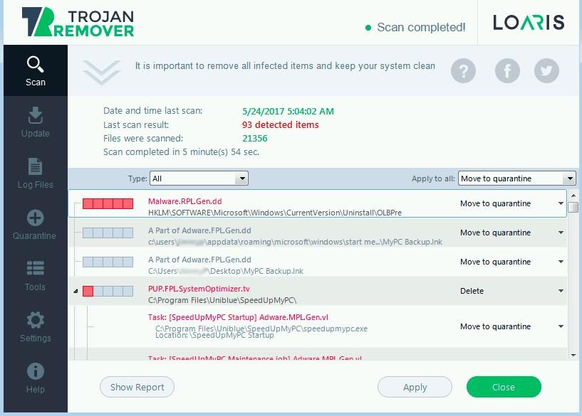 Capture d'écran Loaris Trojan Remover