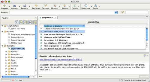 Capture d'écran RSSOwl Mac