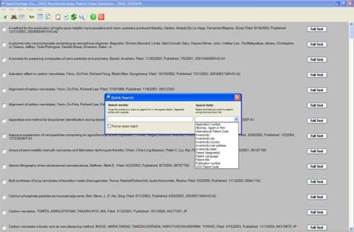 Capture d'écran Nanotechnology Patent Index Database