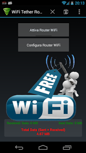 Capture d'écran WiFi Tether Router