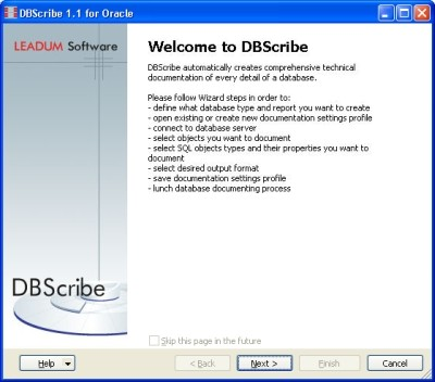 Capture d'écran DBScribe for Oracle