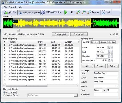 Capture d'écran Visual MP3 Splitter & Joiner