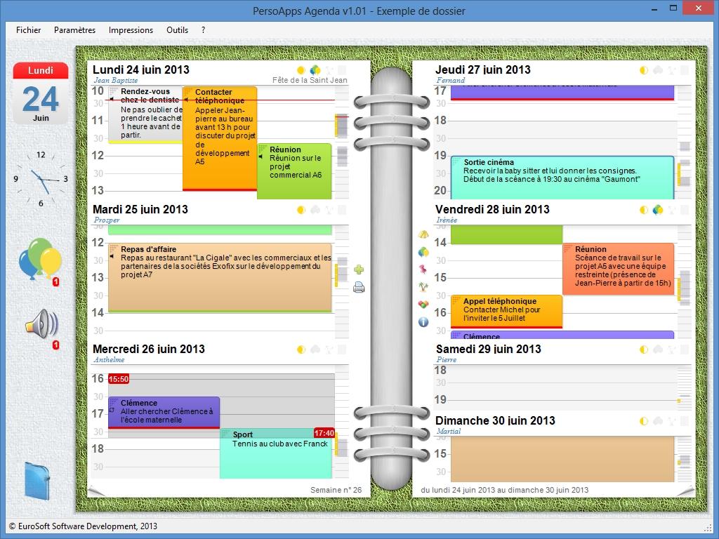 Capture d'écran PersoApps Agenda
