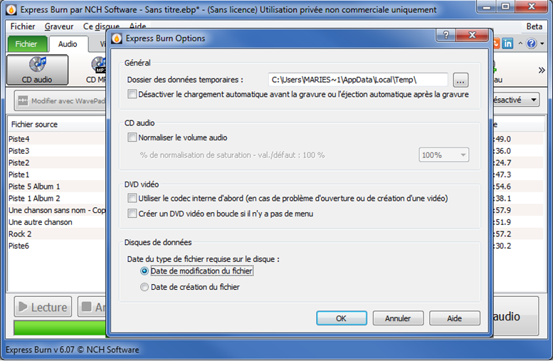 Capture d'écran Express Burn – Logiciel de gravure de CD