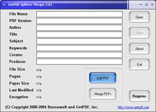 Capture d'écran GetPDF Splitter Merger